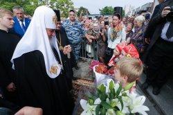 Торжества 125-летия Выборгской епархии: посещение Святейшим Патриархом Кириллом строящегося Успенского храмового комплекса в Выборге