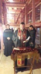 Началась роспись верхнего храма Рождество-Богородичного собора Коневской обители